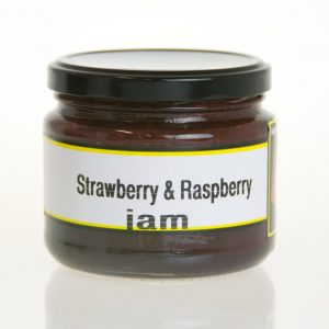A jar of strawberry and raspberry jam