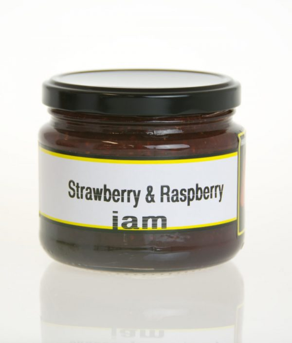 A jar of strawberry and raspberry jam