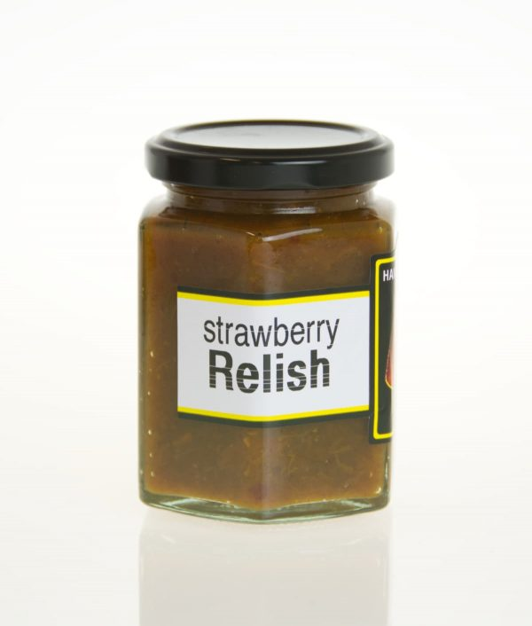 A bottle of Strawberry relish.