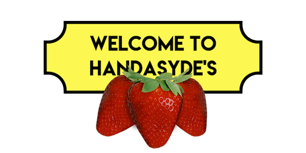 Welcome to Handasydes graphic with 3 strawberries